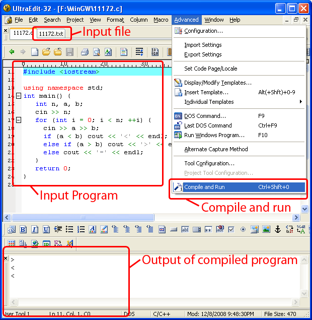 Tutorial for mingw Online c compiler and run with input