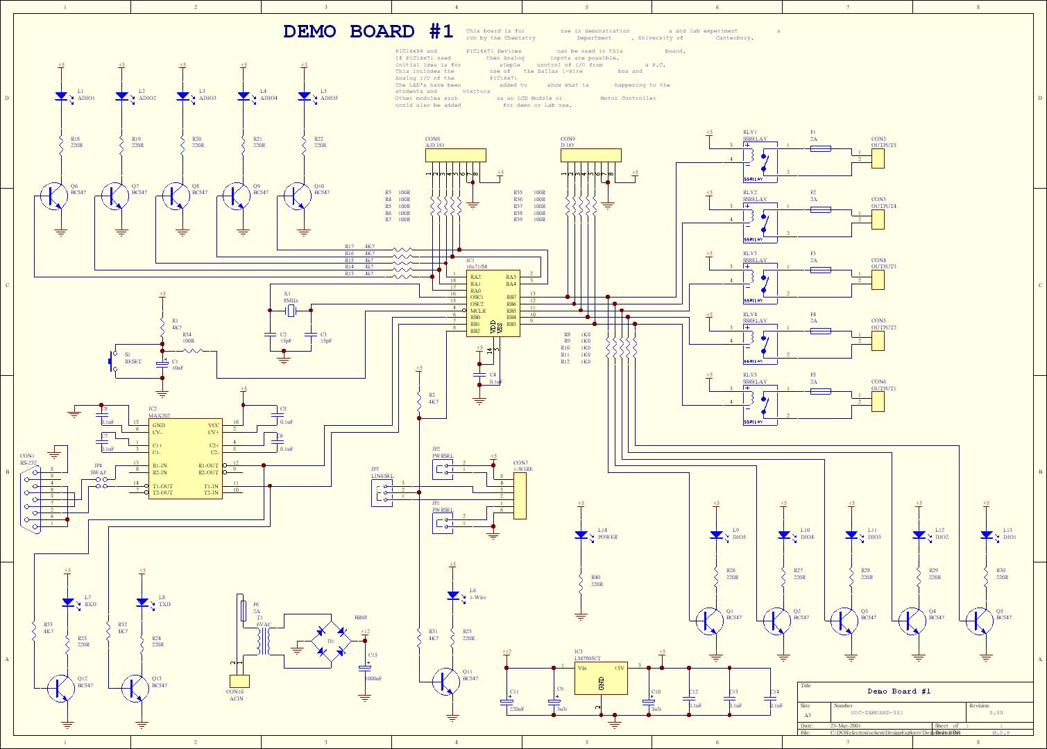 PIC_Hi Tech_C_Mike_Pearces_demo_board electronic circuit schematics  at n-0.co